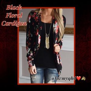 Sweaters - Black Floral Open Front Cardigan